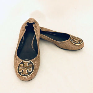 TORY BURCH Reva Flats Size 5.5M Brown Leather Ball